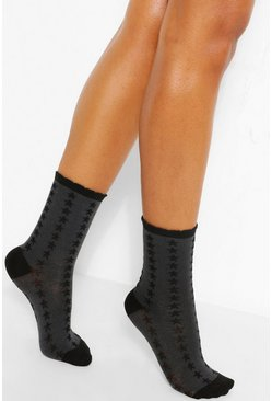 Black Star Print Jacquard Ankle Sock
