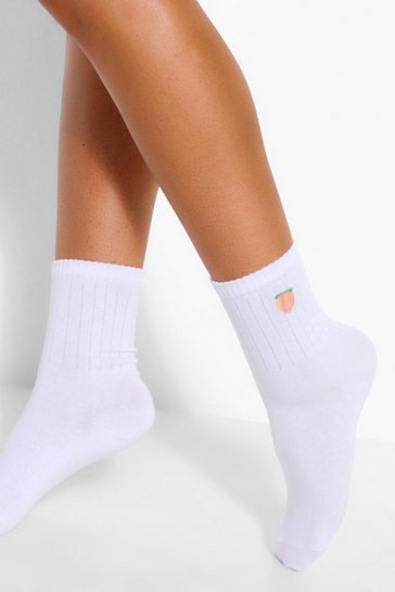 White Peach Embroidered Sports Sock