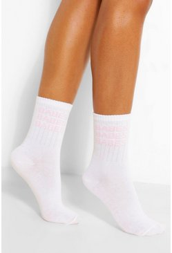 White Babes Slogan Sports Sock