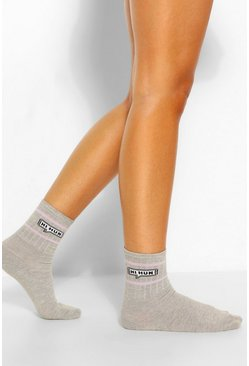 Grey Hi Hun Slogan Sports Sock