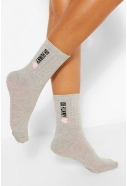 Grey Oh Hunny Slogan Sports Sock