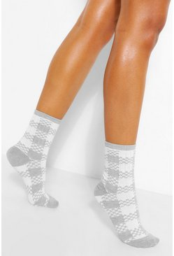 Grey Checkerboard Sports Sock