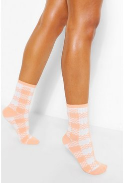 Pink Checkerboard Sports Sock