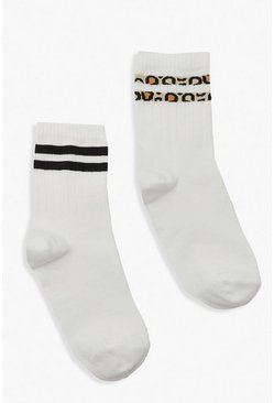 White 2 Pack Leopard Stripe Sports Sock