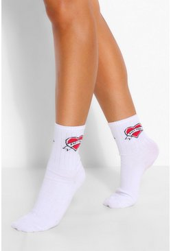 White Babygirl Heart Sports Sock