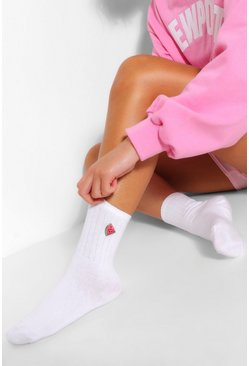 White Watermelon Embroidered Sports Sock
