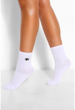 White Bee and Heart Embroidered Sports Sock