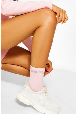 Pink Reflective Babygirl Slogan Sports Sock