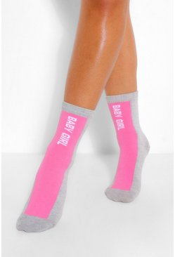 Grey Babygirl Slogan Stripe Sports Sock