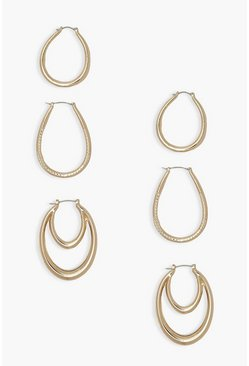 Gold metallic 3 Pack Textured Hoop Earrings