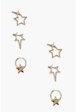 Gold metallic 3 Pack Star Stud and Hoop Earrings