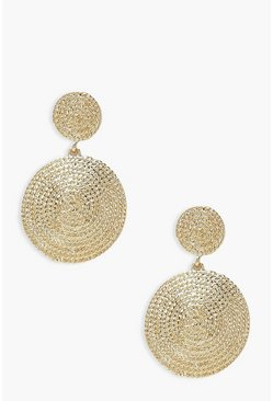 Gold metallic Textured Double Circle Statement Earrings