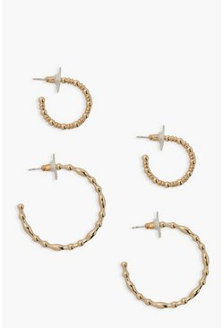 Gold metallic 2 Pack Beaded Hoop Earrings