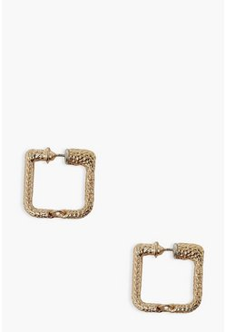 Gold metallic Textured Mini Rectangle Hoop Earrings
