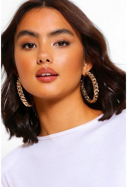 Gold metallic Chunky Chain Hoop Earrings
