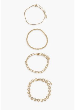 Gold metallic 4 Pack Chain and Bead Detail Bracelets