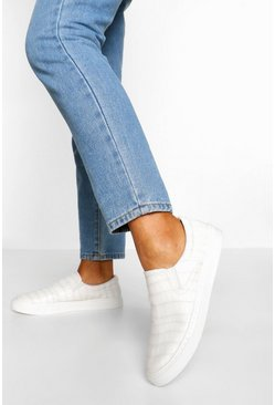 White Croc Basic Slip On Skater