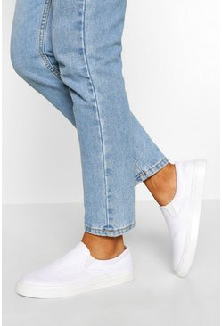 White Basic Slip On Skater