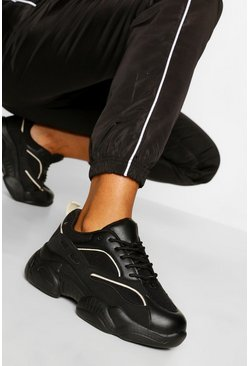 Black Contrast Piping Chunky Trainers