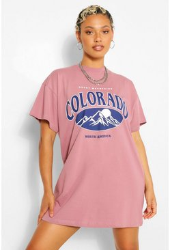 Mauve purple Colorado Slogan T-Shirt Dress