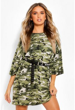 Khaki Camo Print Oversized T-Shirt Dress