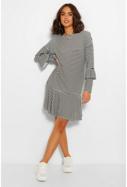 Black Stripe Ruffle Hem & Sleeve T-Shirt Dress