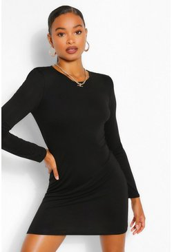 Black Padded Shoulder Long Sleeve T-Shirt Dress