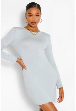 Sage green Padded Shoulder Long Sleeve T-Shirt Dress