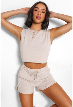 Stone beige Tank Top Short Co-ord Set
