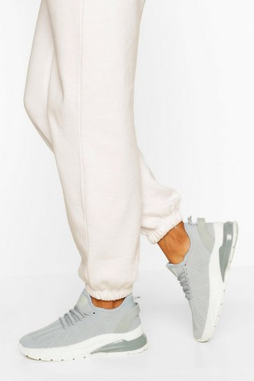 Grey Bubble Sole Knitted Sports Trainers