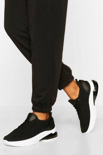 Black Bubble Sole Knitted Sports Trainers