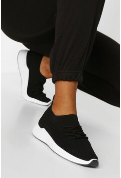 Black Basic Knitted Sports Trainers