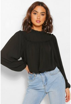 Black High Neck Ruffle Oversized Smock Blouse