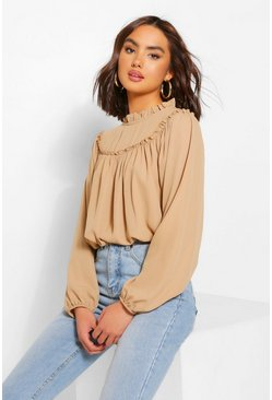 Camel beige High Neck Ruffle Oversized Smock Blouse