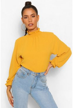 Mustard Hammered Matte Satin High Neck Blouse