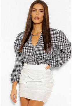 Black Dogstooth Wrap Blouse