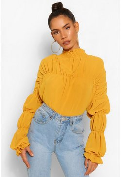 Mustard Statement Ruched Chiffon Blouse