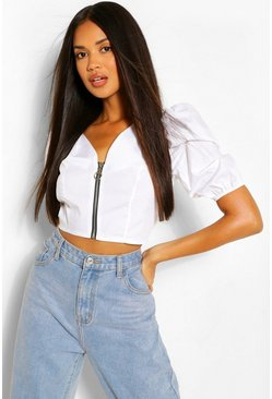 White Zip Front Statement Woven Top