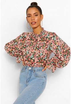 Black Floral High Neck Smock Top