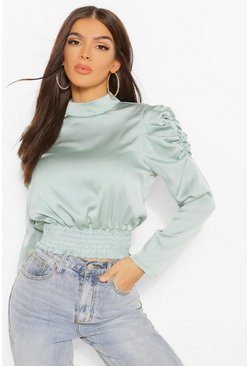 Sage green Statement Sleeve Blouse