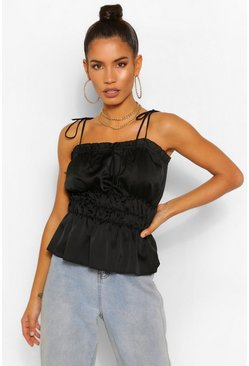Black Hammered Satin Ruched Cami
