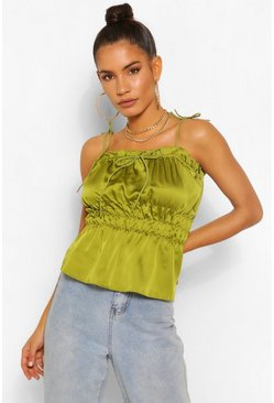 Olive green Hammered Satin Ruched Cami