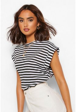 Black Drop Arm Striped Jersey Tee