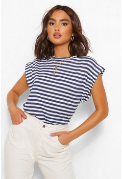Navy Drop Arm Striped Jersey Tee