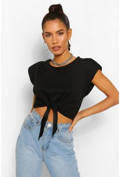 Black Padded Shoulder Tie Front Crop Tee