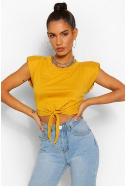 Mustard Padded Shoulder Tie Front Crop Tee
