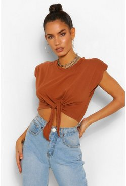 Tobacco Padded Shoulder Tie Front Crop Tee