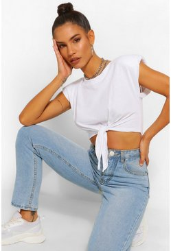 White Padded Shoulder Tie Front Crop Tee