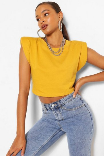 Mustard yellow Yellow Padded Shoulder Crop Tee