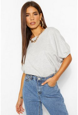 Grey marl grey Oversized Puff Ball Crop Top